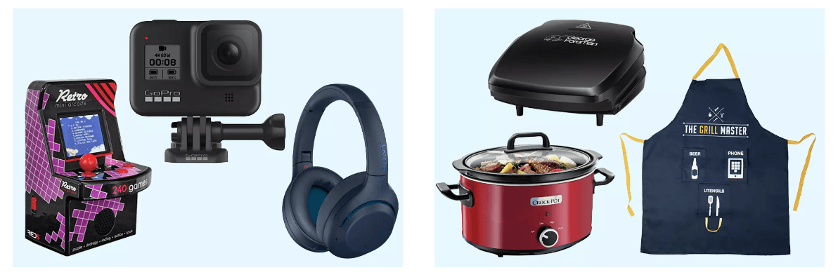 a selection of gifts from Argos for fathers day